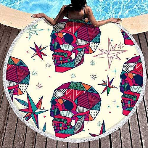Toallas de Playa Coloridas Cabezas de Calavera Diamantes Toalla de Gran tamaño para Estera de Yoga para el baño/la Piscina/la Playa/los Tiempos de Picnic