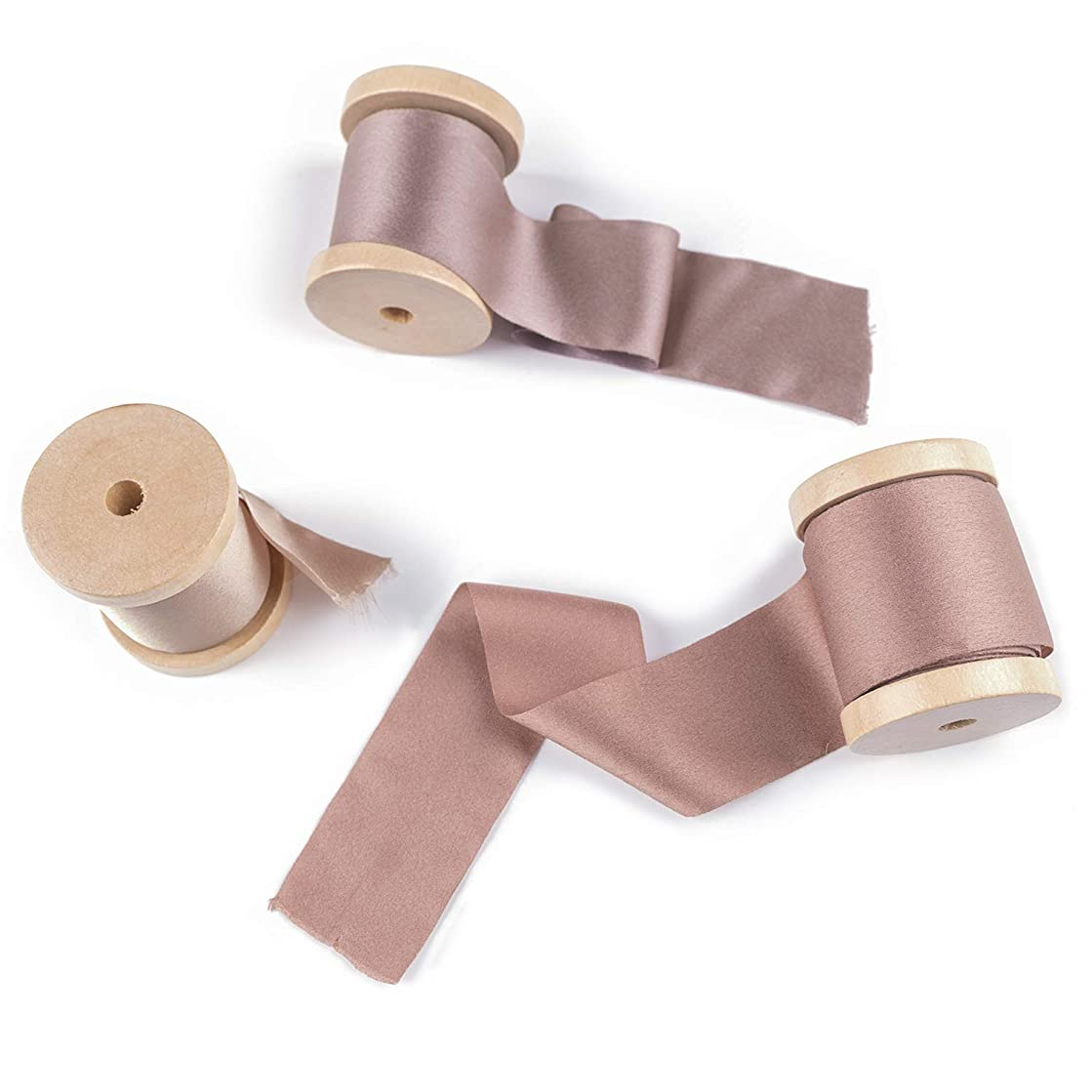 Ling's moment Handmade Sari Silk Ribbon with Spool Set of 3 Rolls Frayed Edges Ribbon for Wedding Bouquets Invitations Gift Wrapping Decor