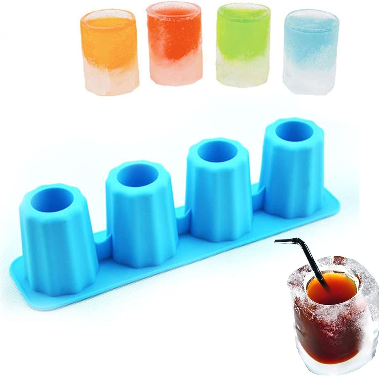 Molde redondo de silicona para vasos de chupito de 8 cavidades, molde para botellas de resina hecho a mano para decoración de cupcakes de bricolaje, dulces, fondant, helados, postres, goma(azul)