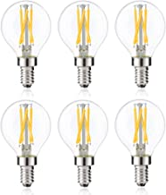 Bonlux 4W Dimmable Candelabra LED Globe Bulb G16.5 Edison LED Filament Bulb, 40W Equivalent G50 E12 LED Clear Glass Light Bulb for Ceiling Fan Chandelier Decoration Light, Daylight 6000K (6-Pack)