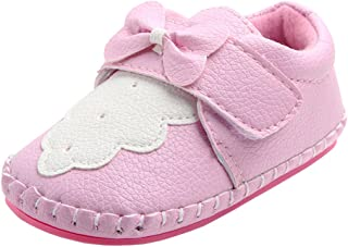 Annnowl Baby Girls Shoes Soft Rubber Sole Sneakers 0-18 Months (12-18 Months, Pink/White)