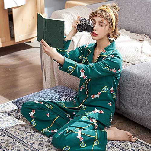 Langarm-Pyjama Aus Baumwolle Für Damen,Grüne Cute Cartoon Hund Muster Schlafanzüge, Revers Langarm-Strickjacke, Soft Comfort Warm Schlafen, Warm Und Atmungsaktiv Stretch Home Service Anzug Für Hom