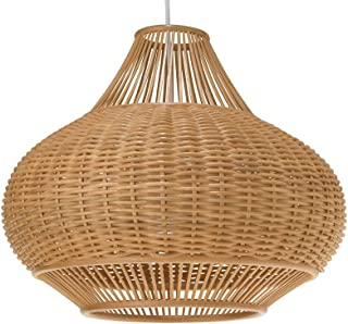 KOUBOO 1050029 Wicker Pear Pendant Lamp, 18