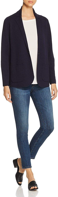 EILEEN FISHER Women's Wool Notch Collar Interlock Cardigan Sweater Top