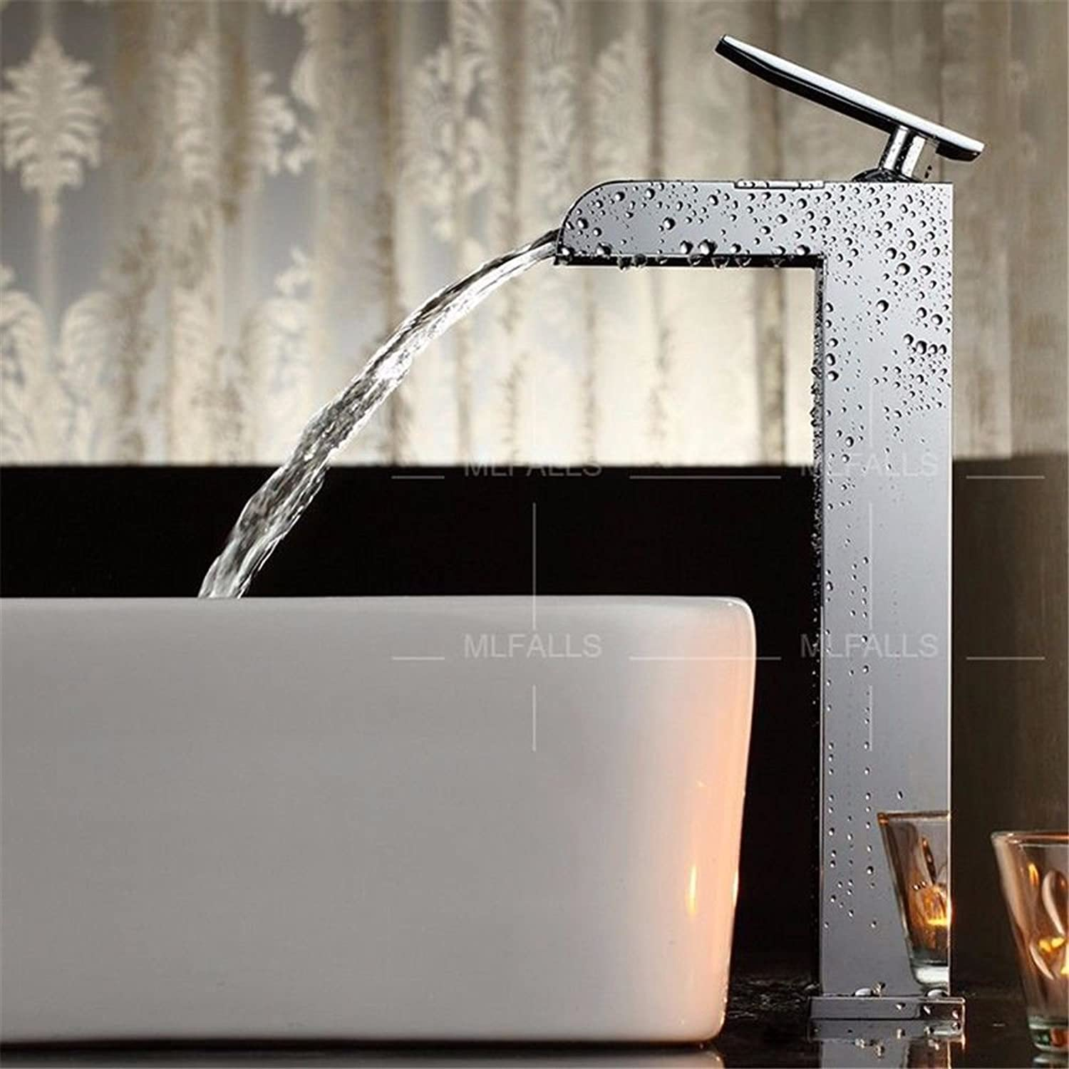 Lpophy Bathroom Sink Mixer Taps Faucet Bath Waterfall Cold and Hot Water Tap for Washroom Bathroom and Kitchen Silver Chrome Brass Square Single Handle Single Hole Ceramic Valve Hot and Cold Water