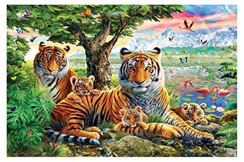 Twuky 5D DIY Diamond Set Full Diamond Diamond Painting Living Room Wall Sticker, Tiger(35X45CM/14X18inch)