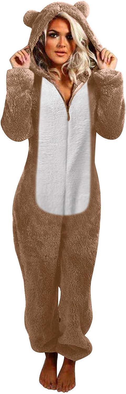 Women Zip-up Hoodie Plush Long Sleeve Shorts Pajama One Piece Bodysuits Outfits Sleepwear,Cat Ear Hooded Jumpsuit