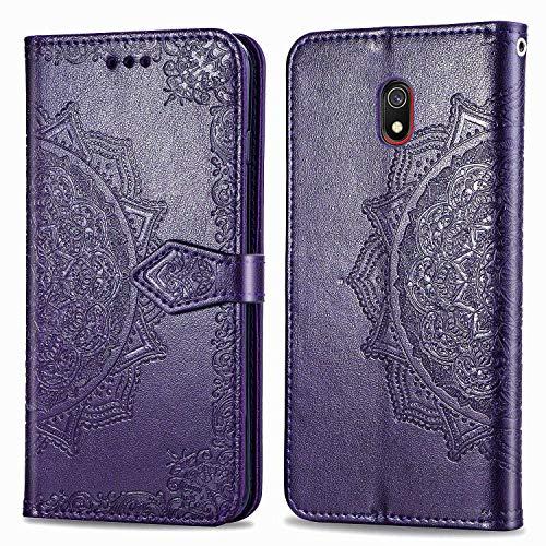 Bear Village Hülle für Xiaomi Redmi 8A, PU Lederhülle Handyhülle für Xiaomi Redmi 8A, Brieftasche Kratzfestes Magnet Handytasche mit Kartenfach, Violett