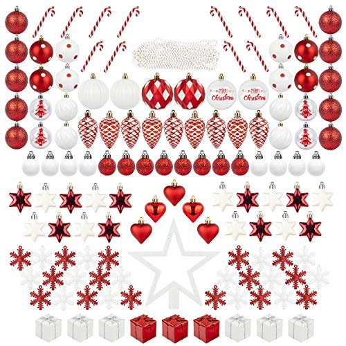 ITART 134ct Christmas Tree Ornaments Decorations Assortment Including Tree Topper Balls Candy Cane Snowflakes Stars Pine Cones Miniature Gift Boxes and Beads Garlands Finial (Red and White)