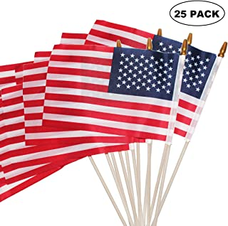 MUFRI Small American Flags, 5.5x8.2 Inch Small American Flags on Stick, Handheld American Flags on Sticks, for Party Decorations and Parades, School Sport Events, July 4th Decorations Flags(25PACK)