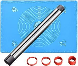 Pin de roulement en acier inoxydable et jeu de tapis de cuisson en silicone antidérapant, rouleau antiadhésif, rouleau de ...