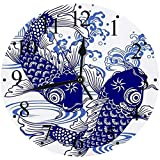 LUHUN Reloj de Pared Moderno,Ola Japonesa Carpa Animales Fauna Silvestre Japón Dibujo Peces Pintura Agua Dulce Agua Activo Alreloj de Cuarzo de Cuarzo Redondo No-Ticking para Sala de Estar 30 cm