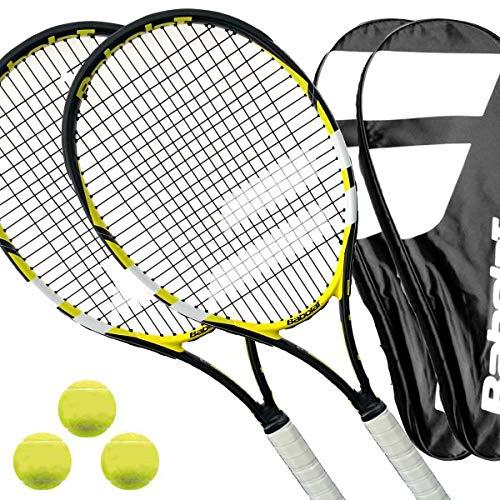 2 x Babolat Reflex - Tennisschläger besaitet L1/L2 + Cover + 3 Bälle