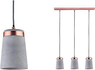 Paulmann 79626 Neordic Stig máx. 3x20W, Colgante para lámparas E27, luminaria de Techo Gris/Cobre Mate 230V hormigón/Metal, sin Fuente de luz