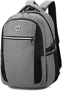 Sturdy Men's Business Computer Backpack Travel and Leisure Travel Shoulder Handbag Schoolbags Large Capacity (Color : Grey)