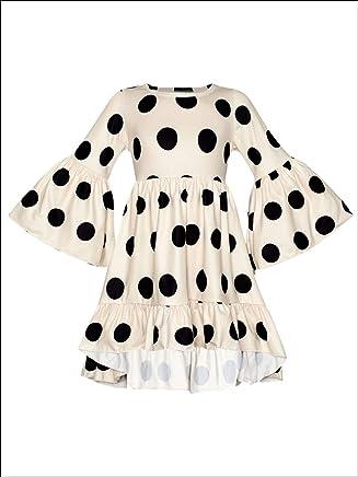 52f91f5f966 Girls Long Sleeve Printed Floral   Polka Dot Ruffled Boho Sleeve Tops