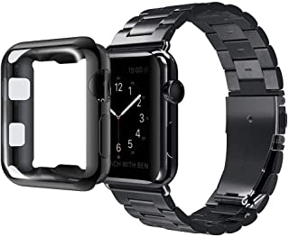 U191U Compatible with Apple Watch Band Series 4/3/2/1, Stainless Steel Bracelet Strap w/Adapter+ TPU Soft Case Cover for iWatch 38/40/42/44mm (Black 44mm)