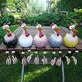 HonTaio Ein Set mit 5 Teilen - Das Huhn, das den Himmel betrachtet - Kreative Keramikornamente, Gartendekoration für den Außen- und Innengarten erhöhen die Vitalität des Hofes (5 Stücke)