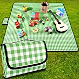 YAOMAISI Extra Large Waterproof Sandproof Outdoor Family Picnic mat,Green Picnic mat,Beach mat,79×79 inches,Foldable Portable Picnic mat,Outdoor Blanket Suitable for Park,Travel,Camping and Hiking.