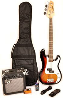 $185 » 3/4 Size Beginner Bass Guitar Package Sunburst w/Amp Bag, Strap & Cord SX Ursa 1 JR 3TS