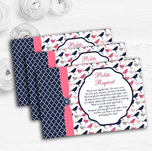 Marineblauw & koraal roze Shabby chique vogels op maat bruiloft cadeau geld gedicht kaarten 80 Cards