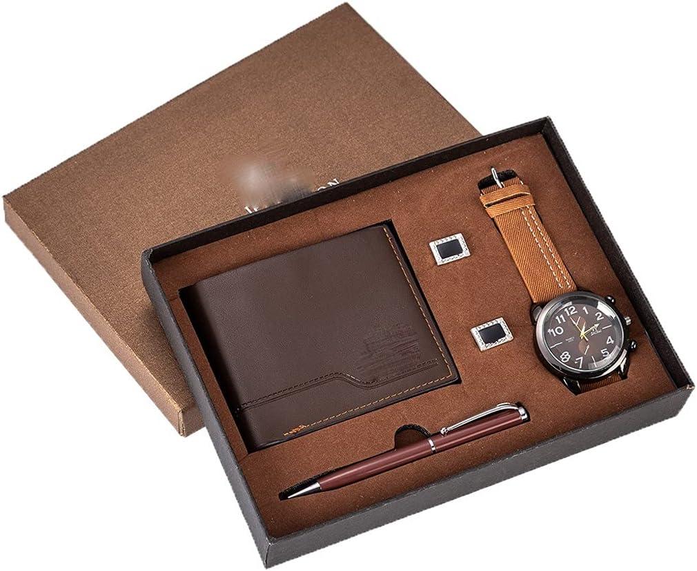 ZZABC Juego de Regalo para Hombres Reloj bellamente empaquetado + Monedero Gemelos Juego de bolígrafos Venta de combinación Creativa Reloj Mujeres Pareja