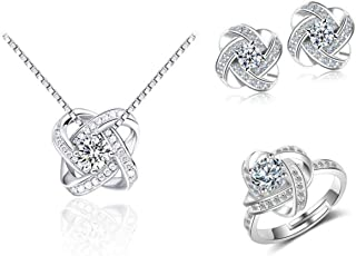 Jewelry Set for Women Of Sterling Silver 925, Jewelry Gifts,Round Cubic Zirconia, Necklace and Earrings and Resizable Ring