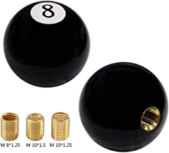 XtremeAmazing Black Round Eight 8 Ball Billiard Car Universal Manual Gear Shift Stick Shifter Knob Lever Cover 4 5 6 Speed with 3 Threading Copper Adapters for Most Cars Vehicles