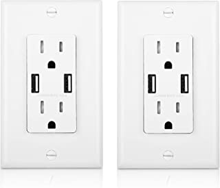 Cable Matters 2-Pack Tamper Resistant 15A Duplex Outlet with USB Charging up to 4-Amp