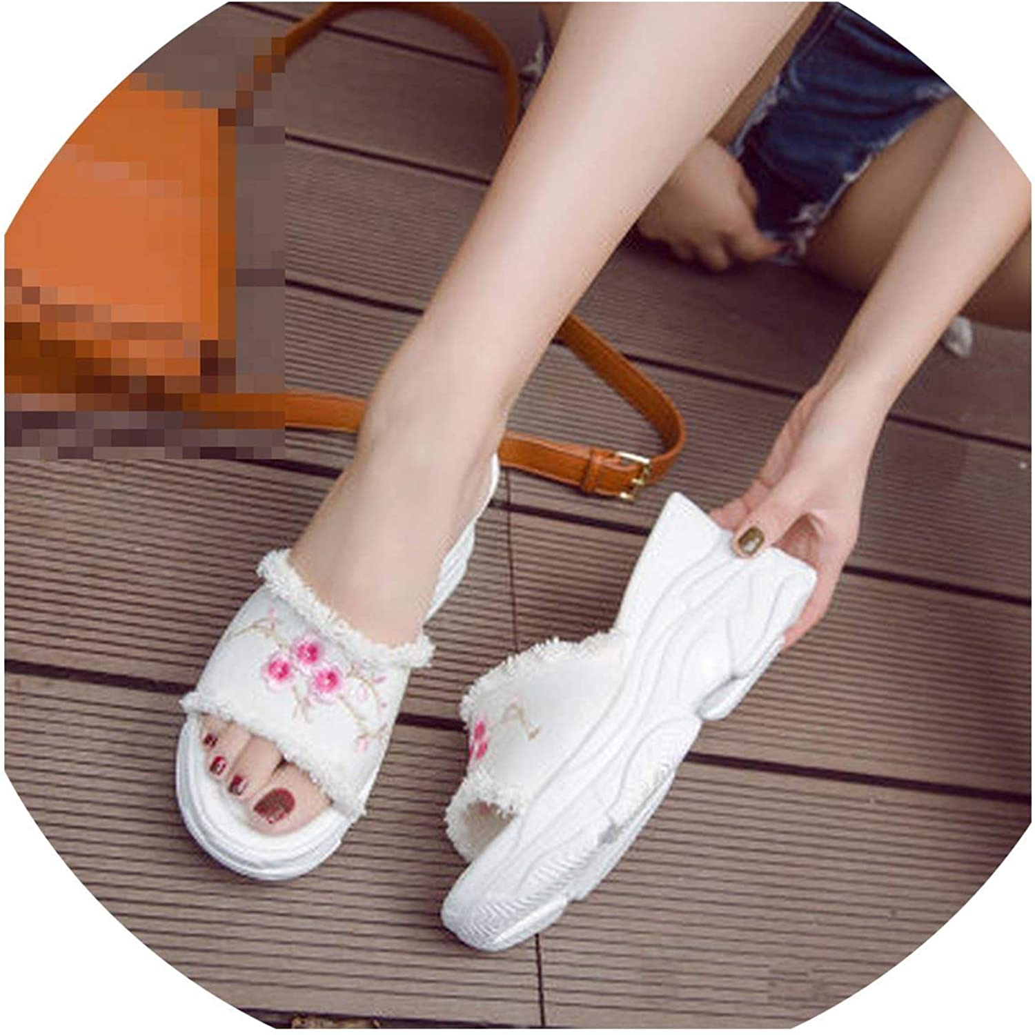 Embroidered high-Heeled Sandals and Slippers Word Sandals Outside Wedges Platform Denim