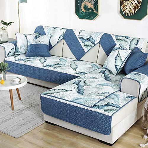 YUTJK Sofá Fundas Antideslizante,Toalla de sofá Cubierta,Protector de Muebles,Lanzar Juegos de Funda de cojín Estar,Cubierta de sofá de algodón Estilo Chino-Azul 1_90×210cm