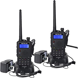 Retevis RT5 High Power Two Way Radio Dual Band Long Range Walkie Talkies Rechargeable FM Scan VOX 2 Way Radios with Earpiece(2 Pack)