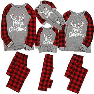 Kehen Matching Family Pajamas Set Merry Christmas Xmas Elk Jammies Plaid Sleepwear Toddler Winter Holiday Homewear