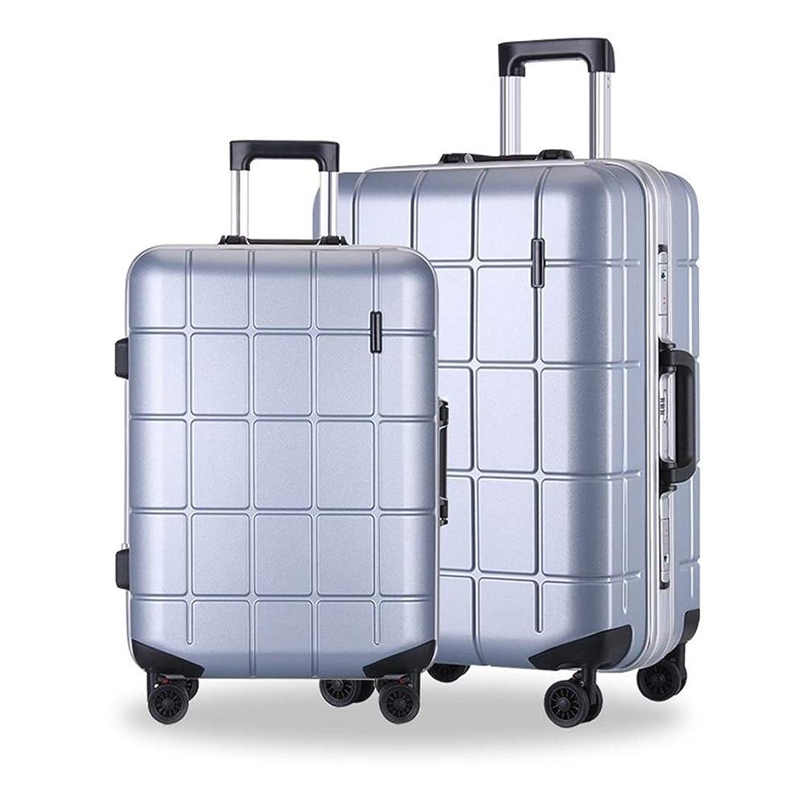 拍車発動機バンジョーアルミフレームトロリーケースビジネスPCスーツケース男性と女性の多方向ホイール20インチライト搭乗スーツケーススーツケースパスワードスーツケース (Color : Sliver, Size : 20inch)