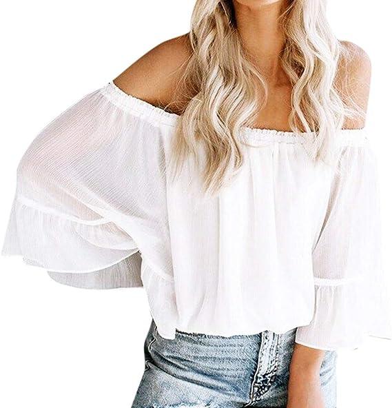 Elyseesen - Camisa de manga con volantes de muselina de seda ...
