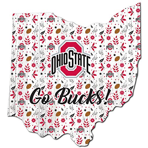 Fan Creations NCAA Ohio State Buckeyes Unisex Ohio State University Floral State Sign, Team Color, 12 inch