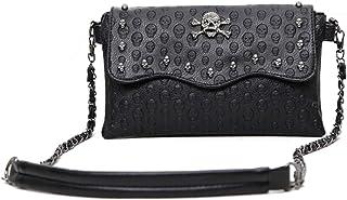Freie Liebe Women Classic Black Skull Cross Body Bag Vintage Clutch Purse Shoulder Bag