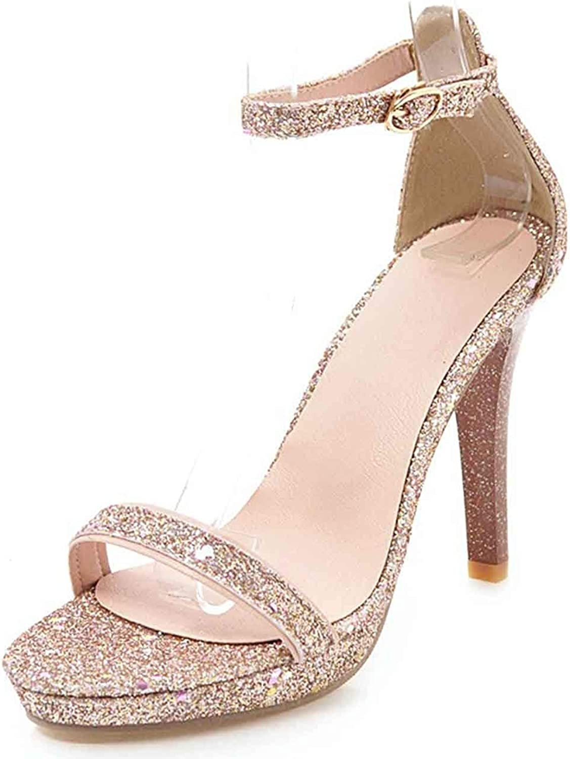 Unm Women's Buckle Strap Sandals with Platform - Comfy High Stiletto Heels - Open Toe D'Orsay Sequined