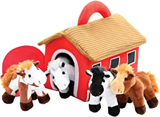 Plush Horse Stable Carrier With 4 Neighing Horses by Animal House