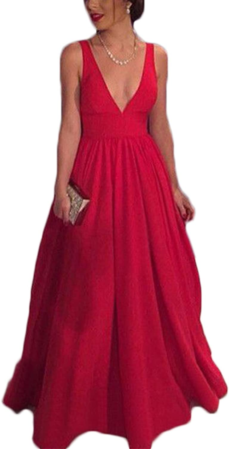 Ri Yun Sexy Spighetti Backless V Neck ALine Red Prom Dresses Long Evening Formal Gowns 2018 Party Dresses for Women
