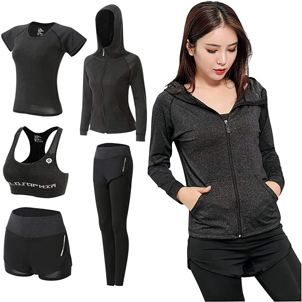 5pcs Sport Clothing Suit Set, Womens Yoga Gym Suit Tights Sportswear Training Wear Running Suit Fitness Series