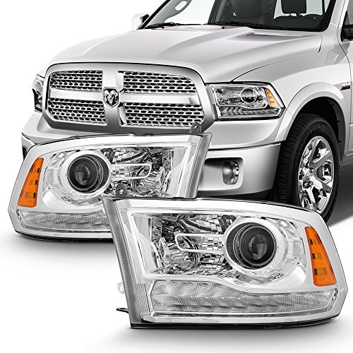 For 2013-2018 RAM 1500 2500 3500 OE Replacement Chrome LED Projector Headlights Left+Right Pair Set