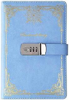 A5 kreatywny dziennik blokujący hasło blokada szyfrowy dziennik cyfrowy hasło notatnik blokujący pamiętnik niebieski