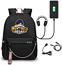 Anime My Hero Academia Printed College Backpack Laptop Bag with USB Charging Port