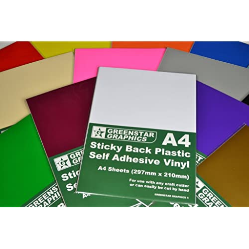 GREENSTAR GRAPHICS A4 Self Adhesive Vinyl Sheets X 20 Sticky Back Plastic For Hobbies
