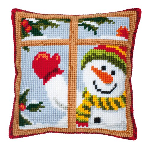 Vervaco Snowman Looking Out Window Cross Stitch Cushion, Multi-Colour