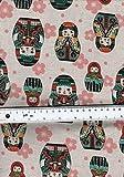 Quilt-Stoff mit russischen Puppen auf Leinen-Optik, 100 %