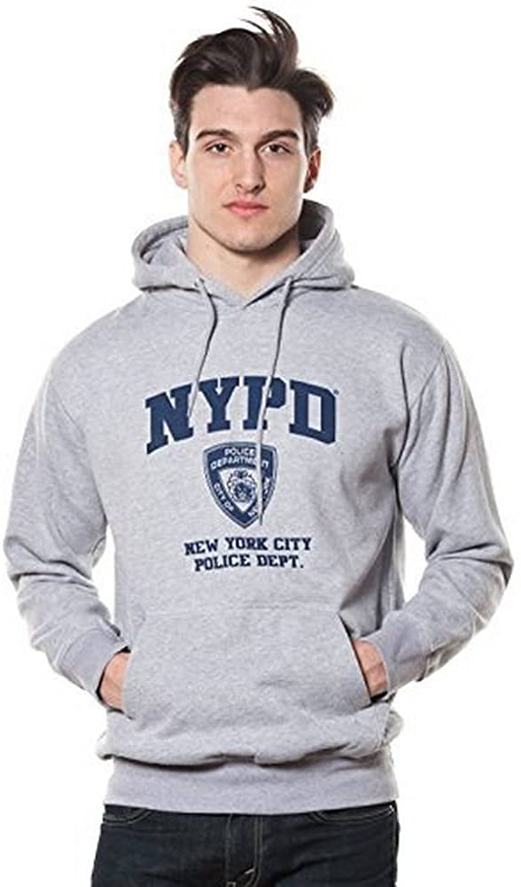 NYPD Adult Oxford Grey Pullover Navy Max Discount mail order 47% OFF with Hoodie Print