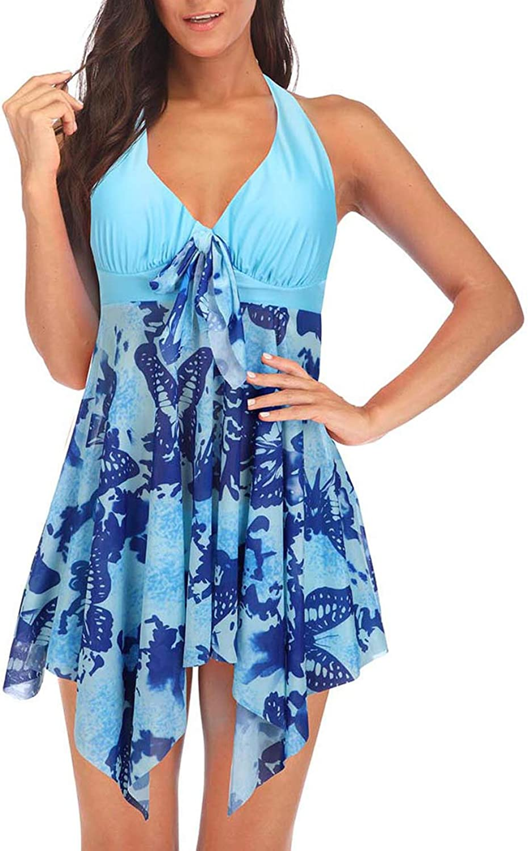 DANALA Women's Two Piece Halter V Neck Plus Size Swimsuit Printed Tankini Sets Split Skirt Swimwear
