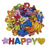Oumezon 168 unidades de letras de gomaespuma con purpurina, pegatinas de letras autoadhesivas, letras del alfabeto, pegatinas para niños, manualidades